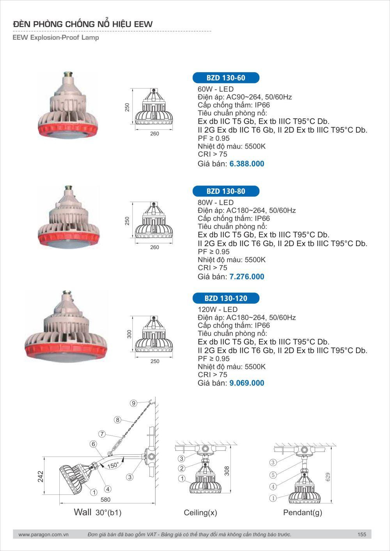 Bang gia catalogue den bulb tube led Paragon 154